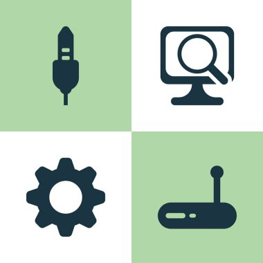 Hardware Icons Set. Collection Of Settings, Laptop, Router And Other Elements. Also Includes Symbols Such As Audio, Computer, Laptop.