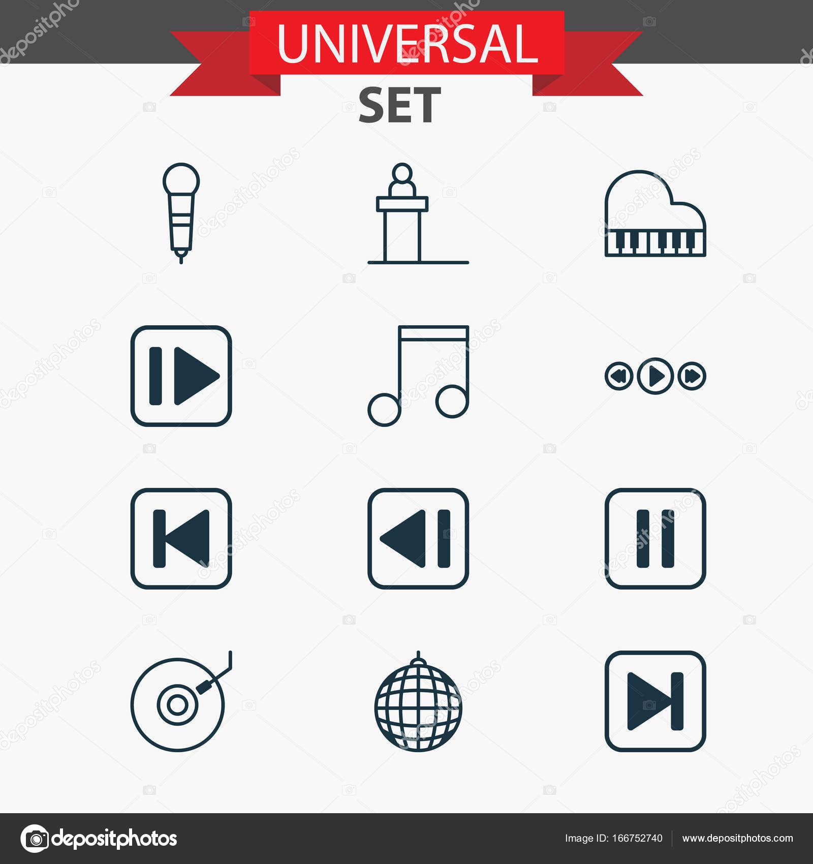 Music Icons Set Collection Of Microphone Run Song Back Skip Diagram Symbools And Other