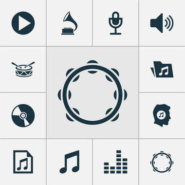 Music Icons Set. Collection Of Phonograph, Mike, Equalizer And Other Elements. Also Includes Symbols Such As Vinyl, Percussion, Volume.