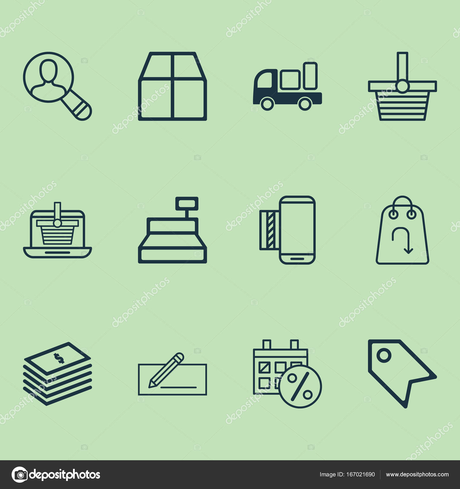 Ecommerce Icons Set Collection Of Cardboard Delivery Price Stamp