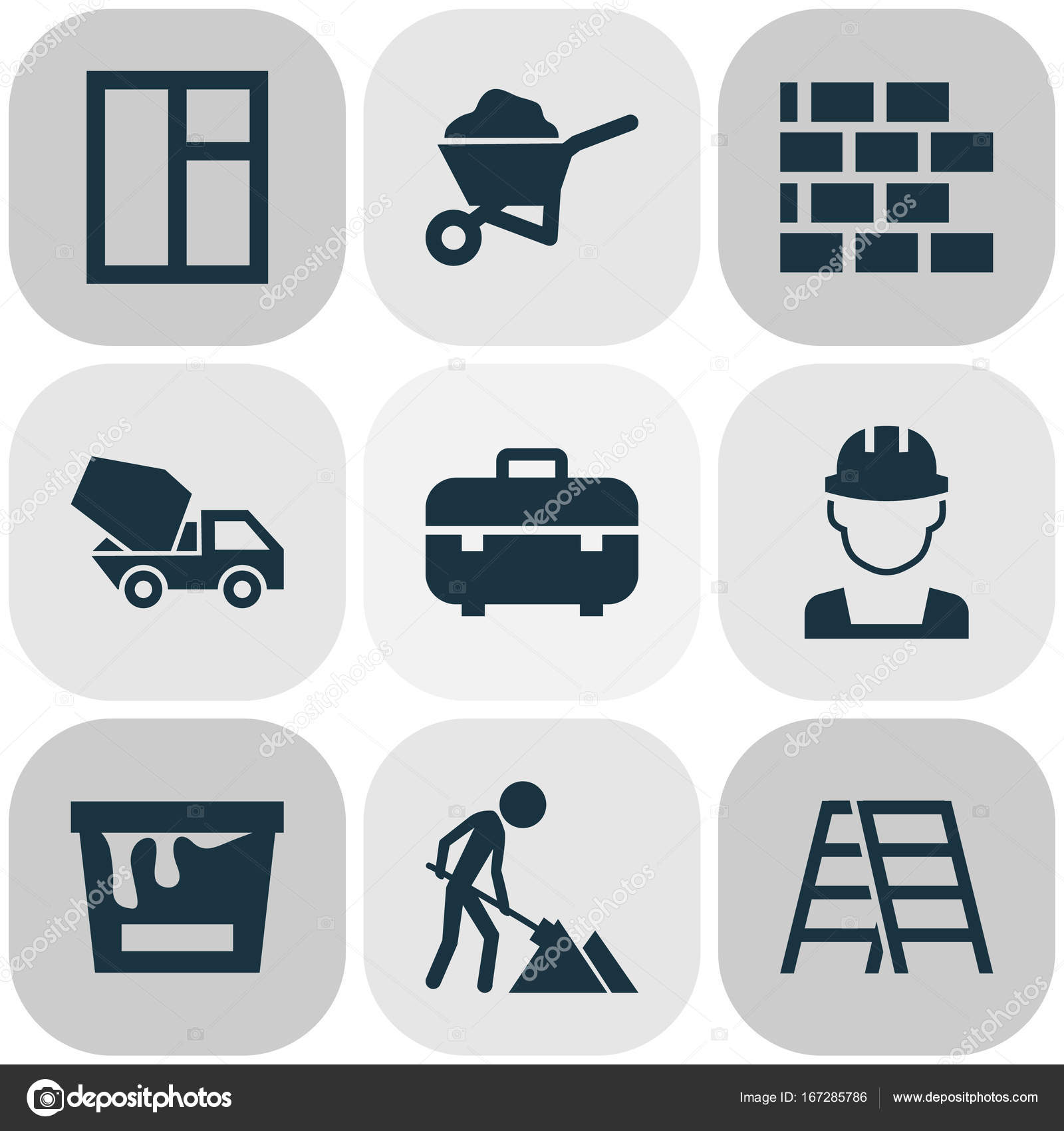 Architecture Icons Set Collection Of Equipment Engineer Paint
