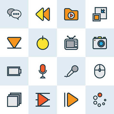 Media Colorful Outline Icons Set. Collection Of Microphone, Television, Slow Forward And Other Elements. Also Includes Symbols Such As Microphone, Tv, Arrow.