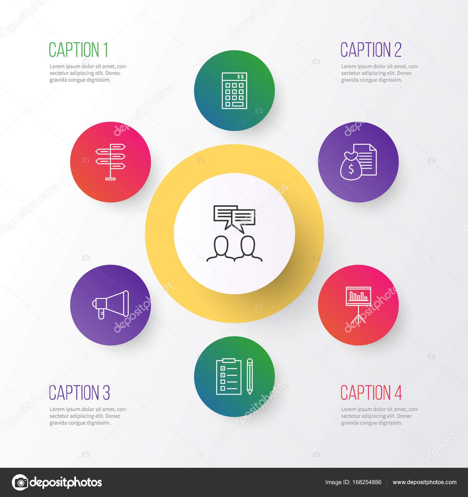Management Icons Set. Sammlung von Präsentation, Diskussion ...