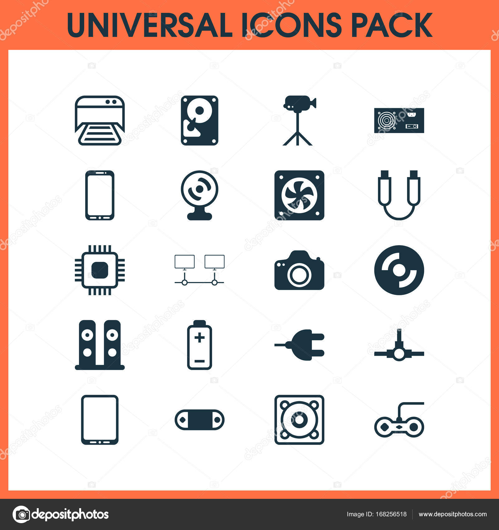 Hardware Icons Set. Collection Of Printed Document, Network ...