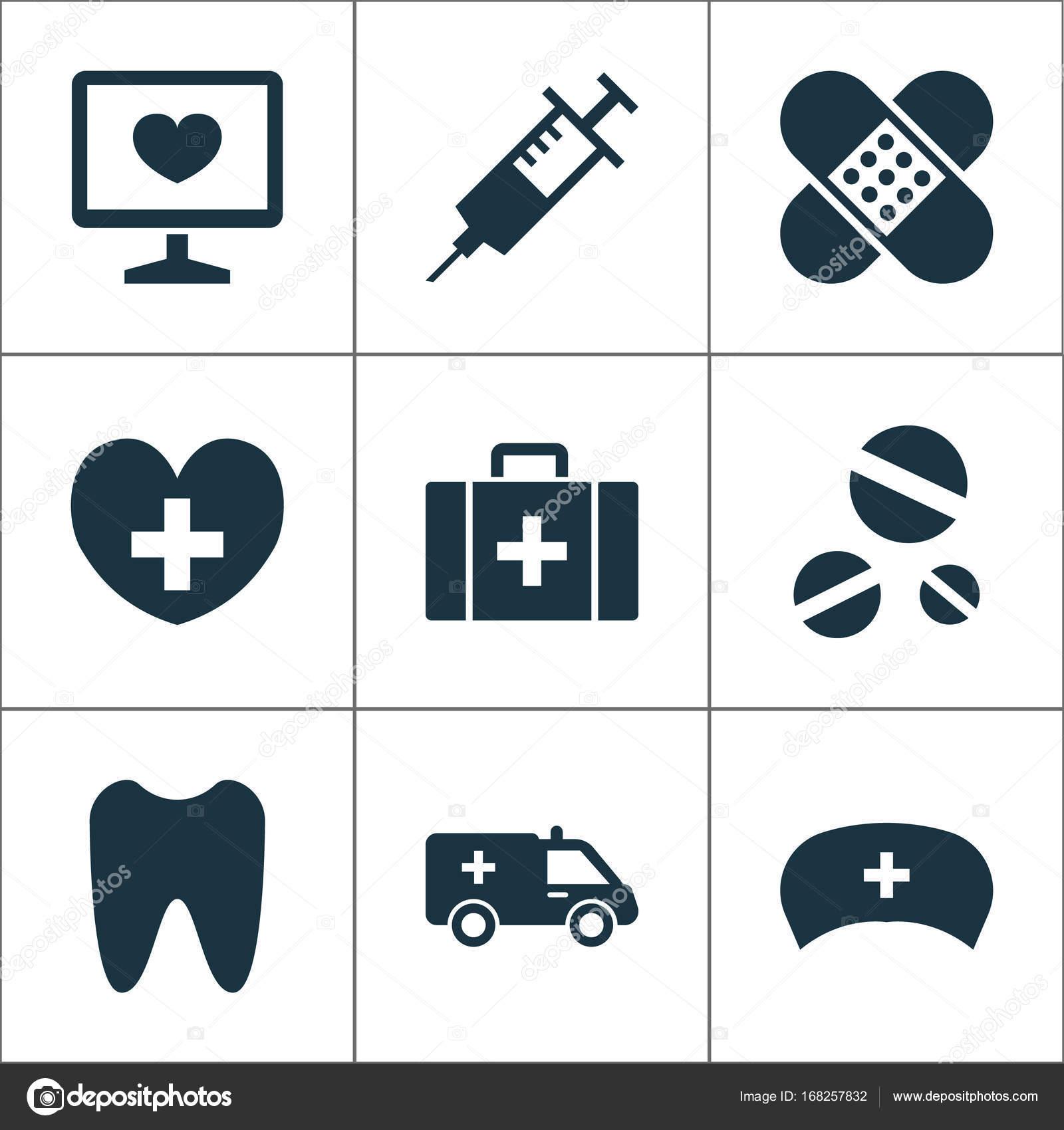 Set Di Icone Antibiotico Raccolta Di Elementi Di Iniezione Benda