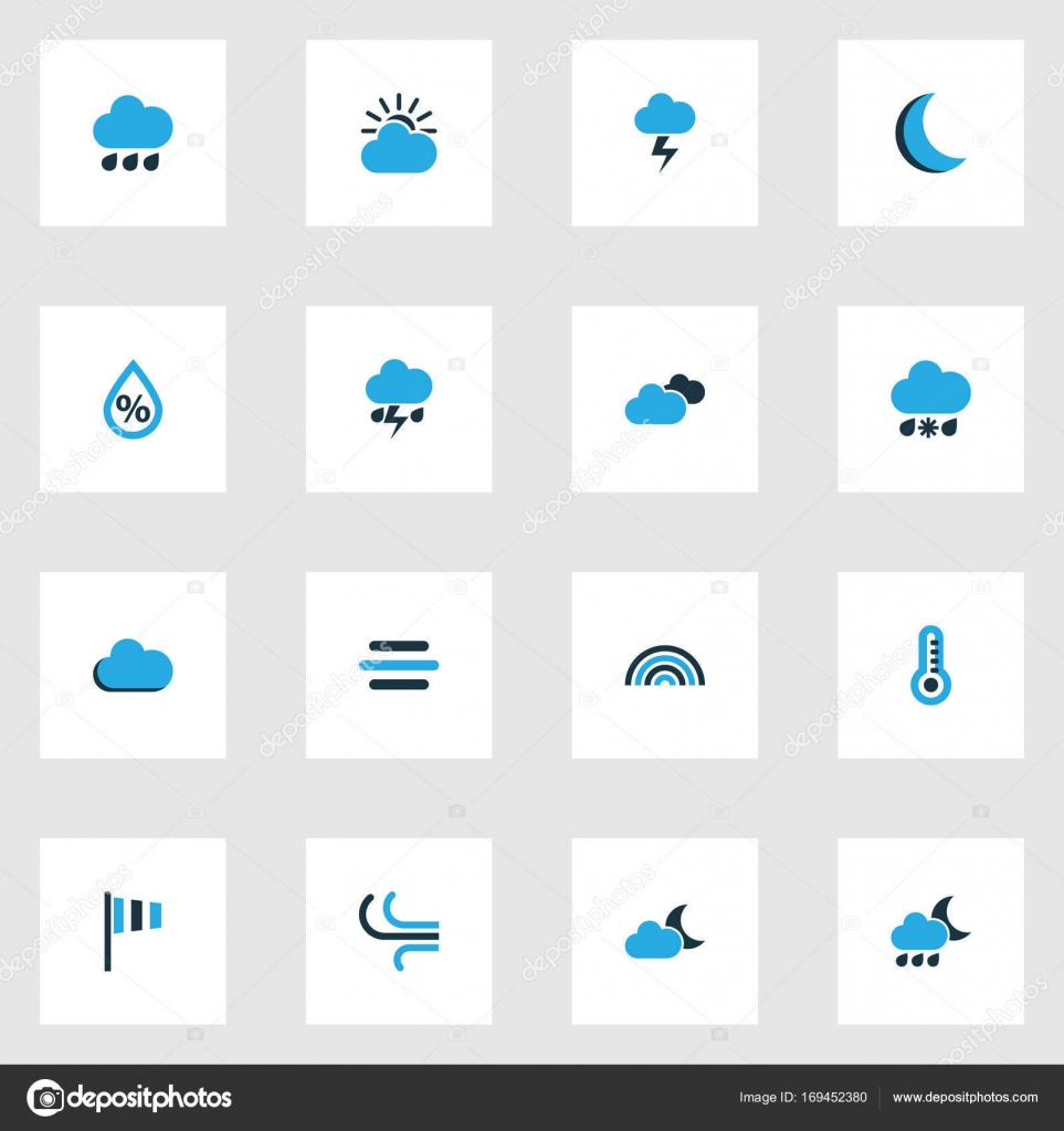 Weather Colorful Icons Set Collection Of Overcast Wind Speed Arc