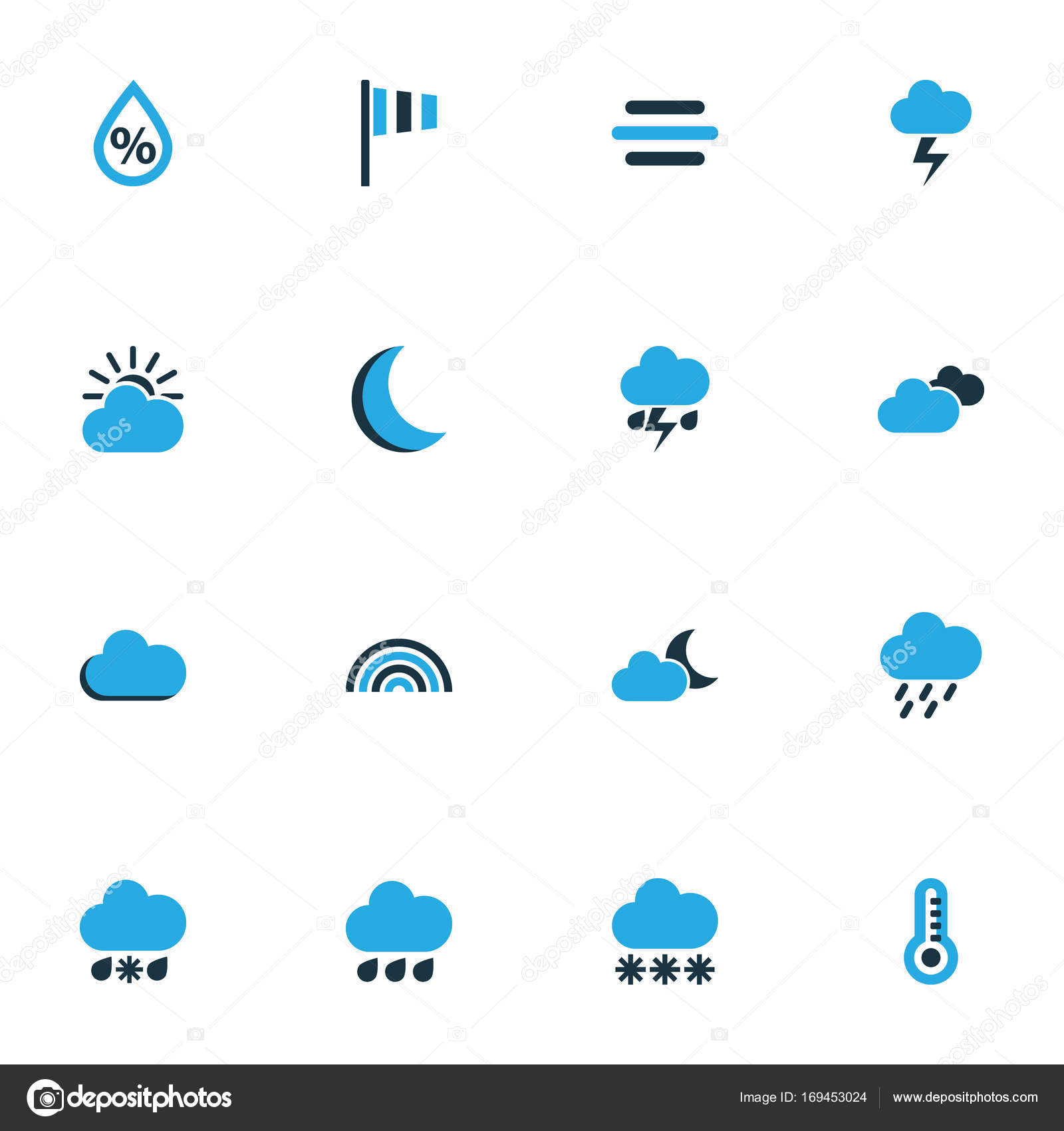 Air Colorful Icons Set Collection Of Arc Wind Speed Lightning And