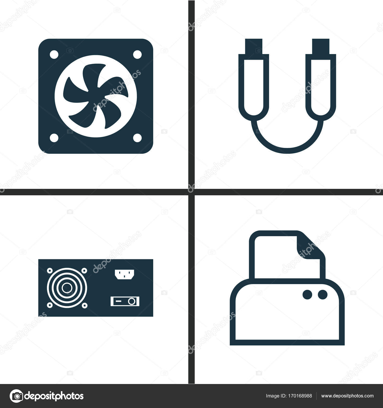 Hardware Icons Set. Collection Of Power Generator, Computer ...