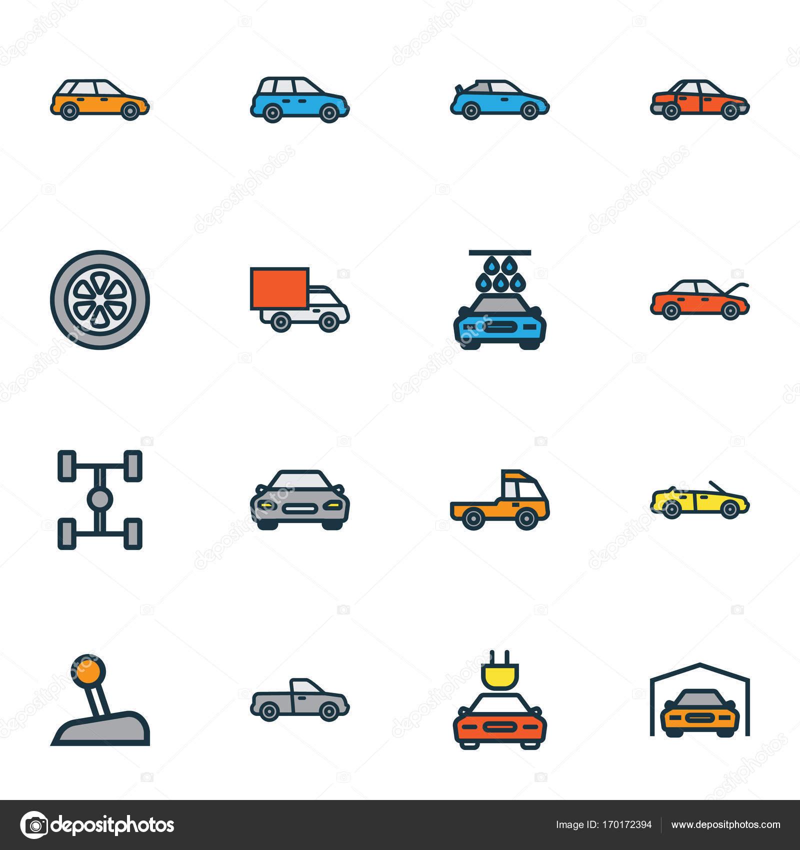 Automobil bunte Umriss Icons Set. Sammlung von Auto, Automobil, Auto ...