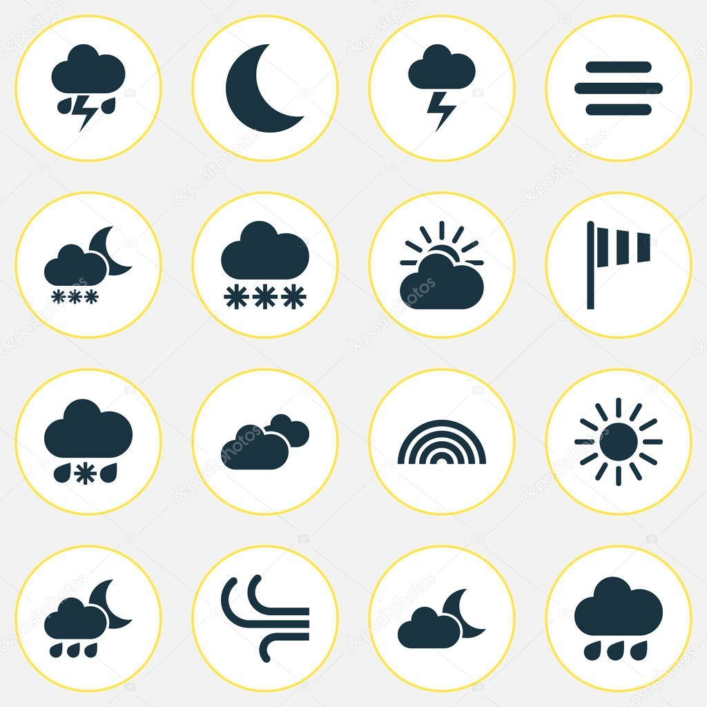 Climate Icons Set. Collection Of Sun-Cloud, Flash, Snowy And Other Elements. Also Includes Symbols Such As Crescent, Rainy, Overcast.