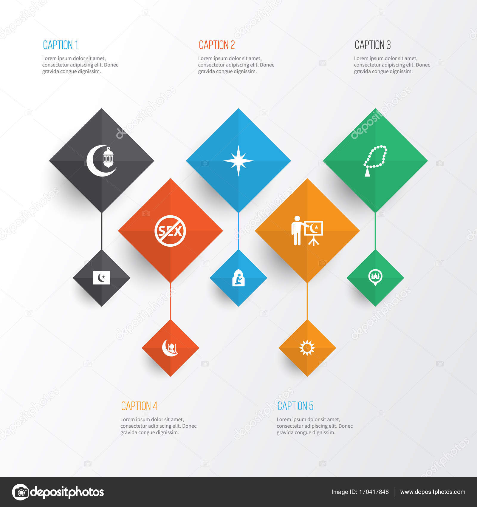 Religion Icons Set Collection Of Islam Clock Direction And Other