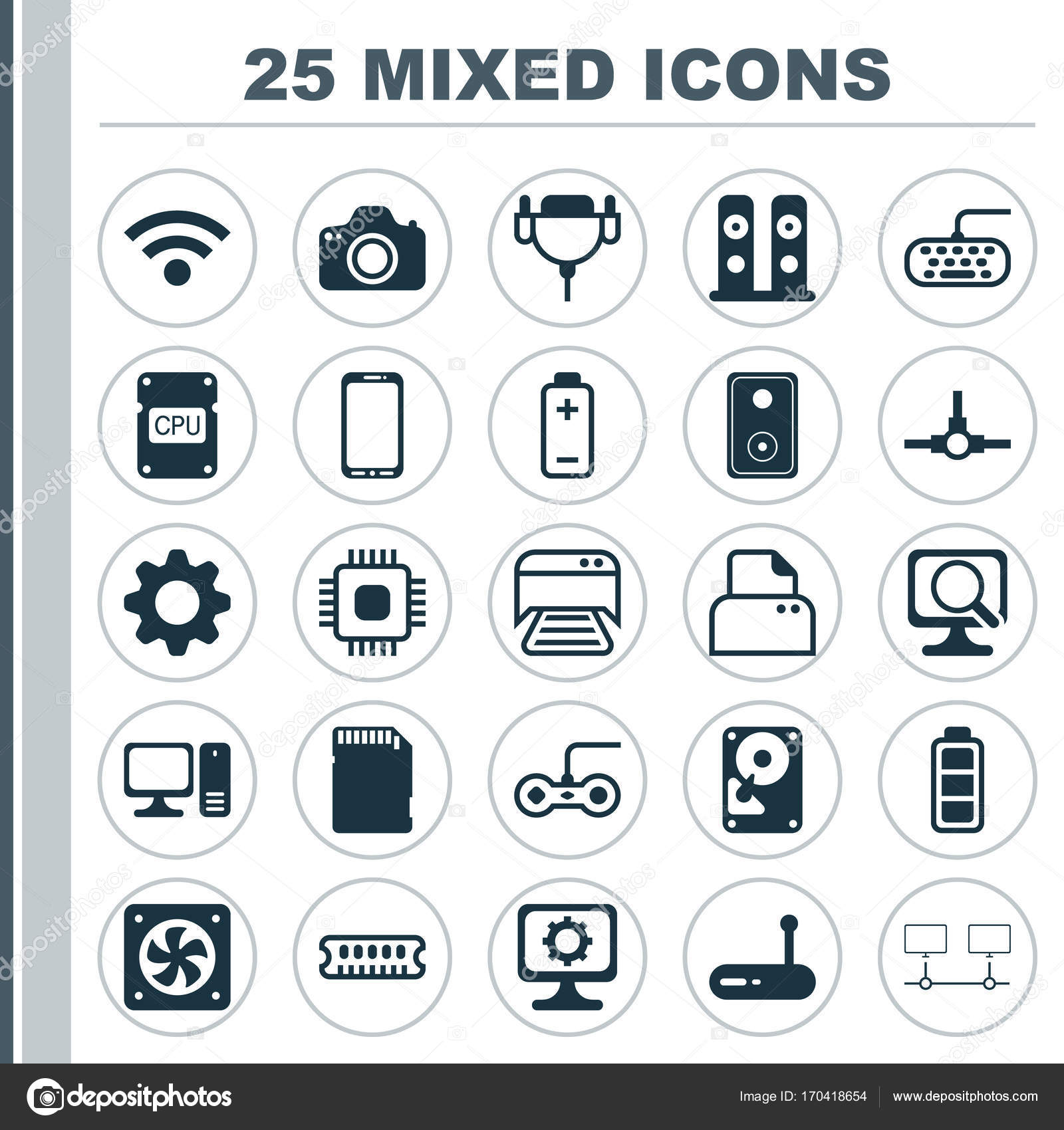 Computer Icons Set  Collection Of Wireless, Battery