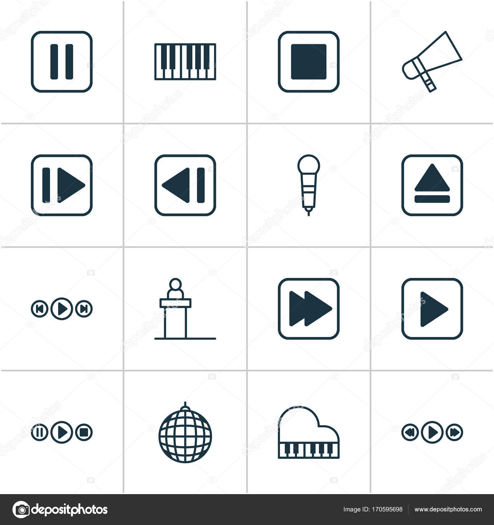 Music Icons Set Collection Of Music Control Octave Following