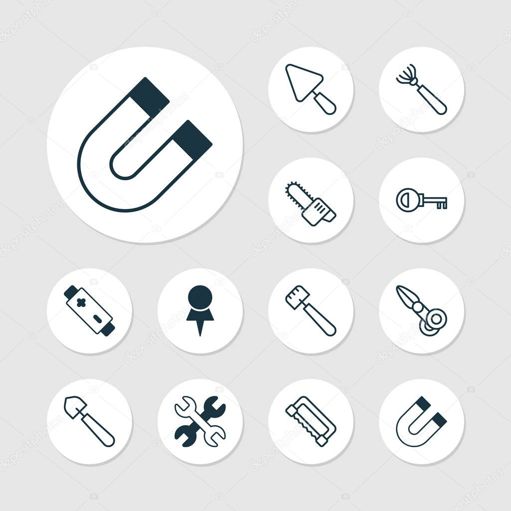 Apparatus Icons Set. Collection Of Spatula, Spanner, Password And Other Elements. Also Includes Symbols Such As Destination, Rake, Magnet.