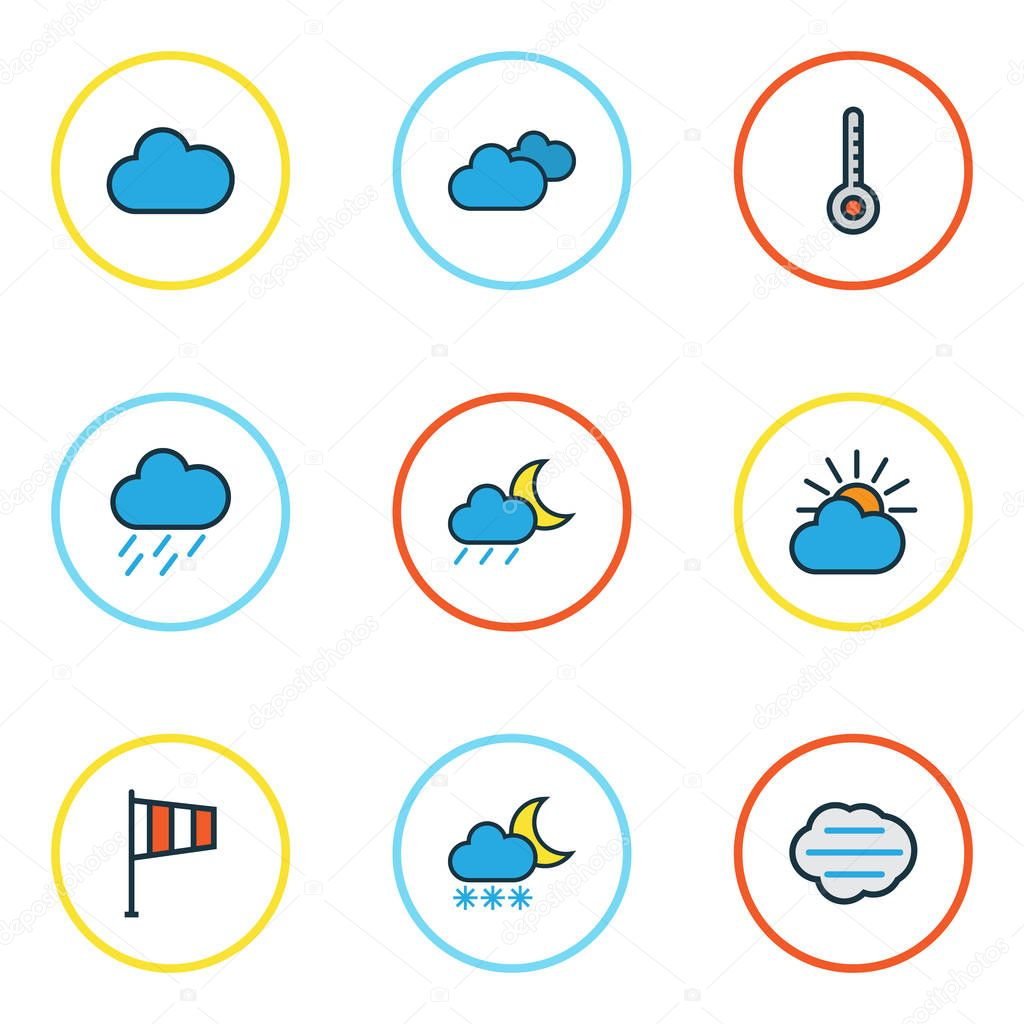 Climate Colorful Outline Icons Set. Collection Of Clouded, Lunar, Scale And Other Elements. Also Includes Symbols Such As Wind, Hazy, Nimbus.