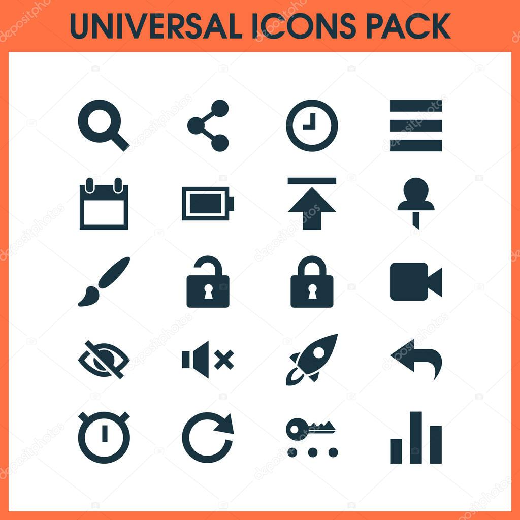 Interface Icons Set. Includes Icons Such As Conceal, Key, Second Meter And Other.