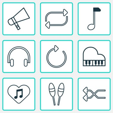 Multimedia Icons Set. Includes Icons Such As Randomize, Loved Melody, Beat Instrument.