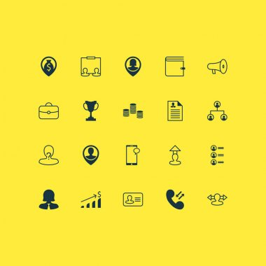 Human Icons Set With Navigation, Call, Money And Other Destination Elements. Isolated Vector Illustration Human Icons.