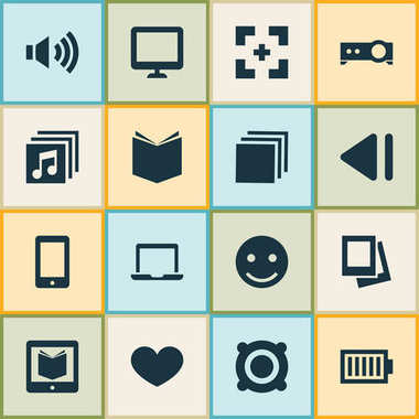 Media Icons Set With Group, E-Reader, Cellphone And Other Cellphone Elements. Isolated Vector Illustration Media Icons.