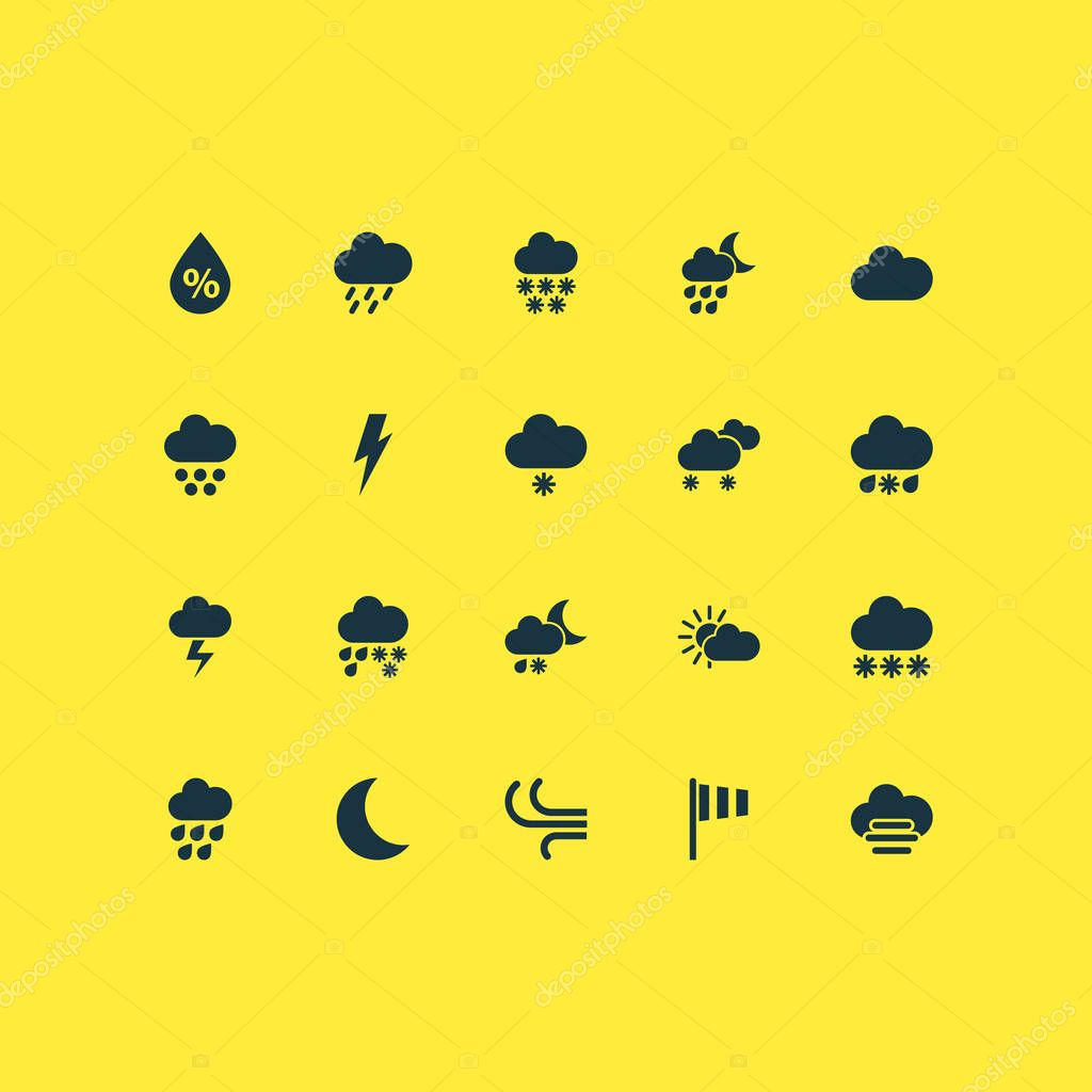 Weather icons set with winter, breeze, deluge and other winter elements. Isolated vector illustration weather icons.