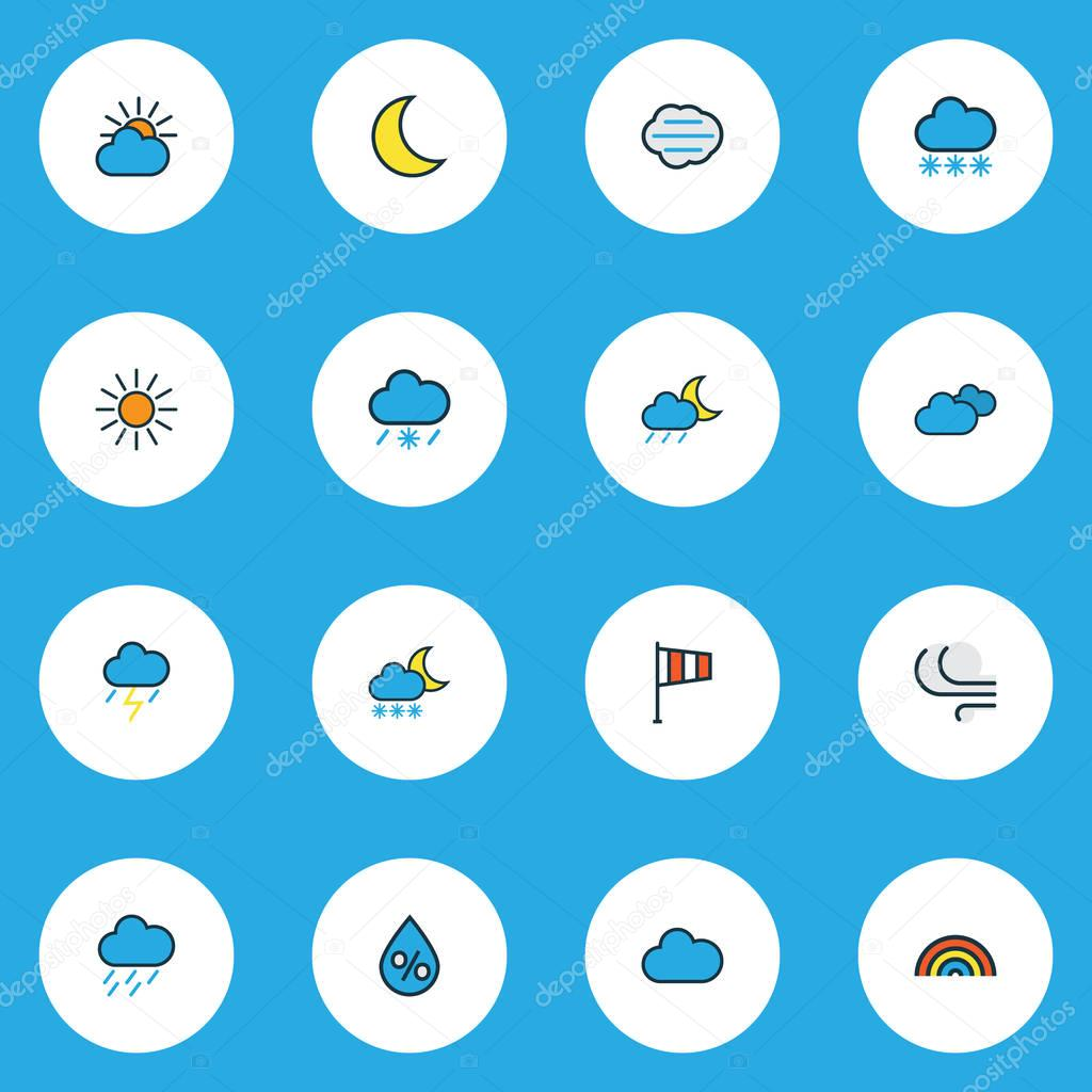 Air icons colored line set with lunar, cloudy day, snowing and other thunderstroke elements. Isolated vector illustration air icons.