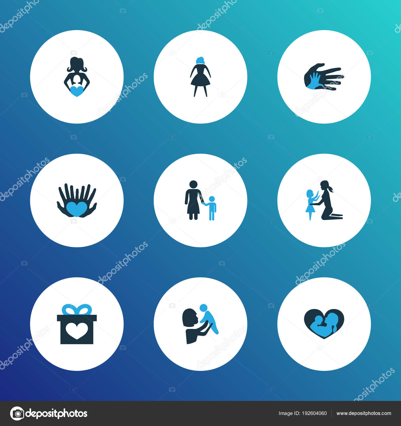Mothers Day Icon Colored Design Concept Set Of 9 Such Elements As