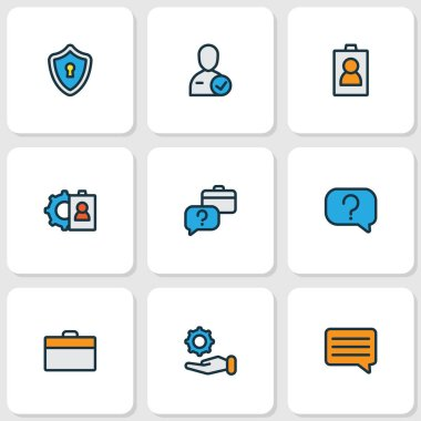 Job icons colored line set with offer, selection, id and other identification card elements. Isolated illustration job icons.