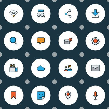Network icons colored line set with sticker, settings, notification and other chatting elements. Isolated illustration network icons.