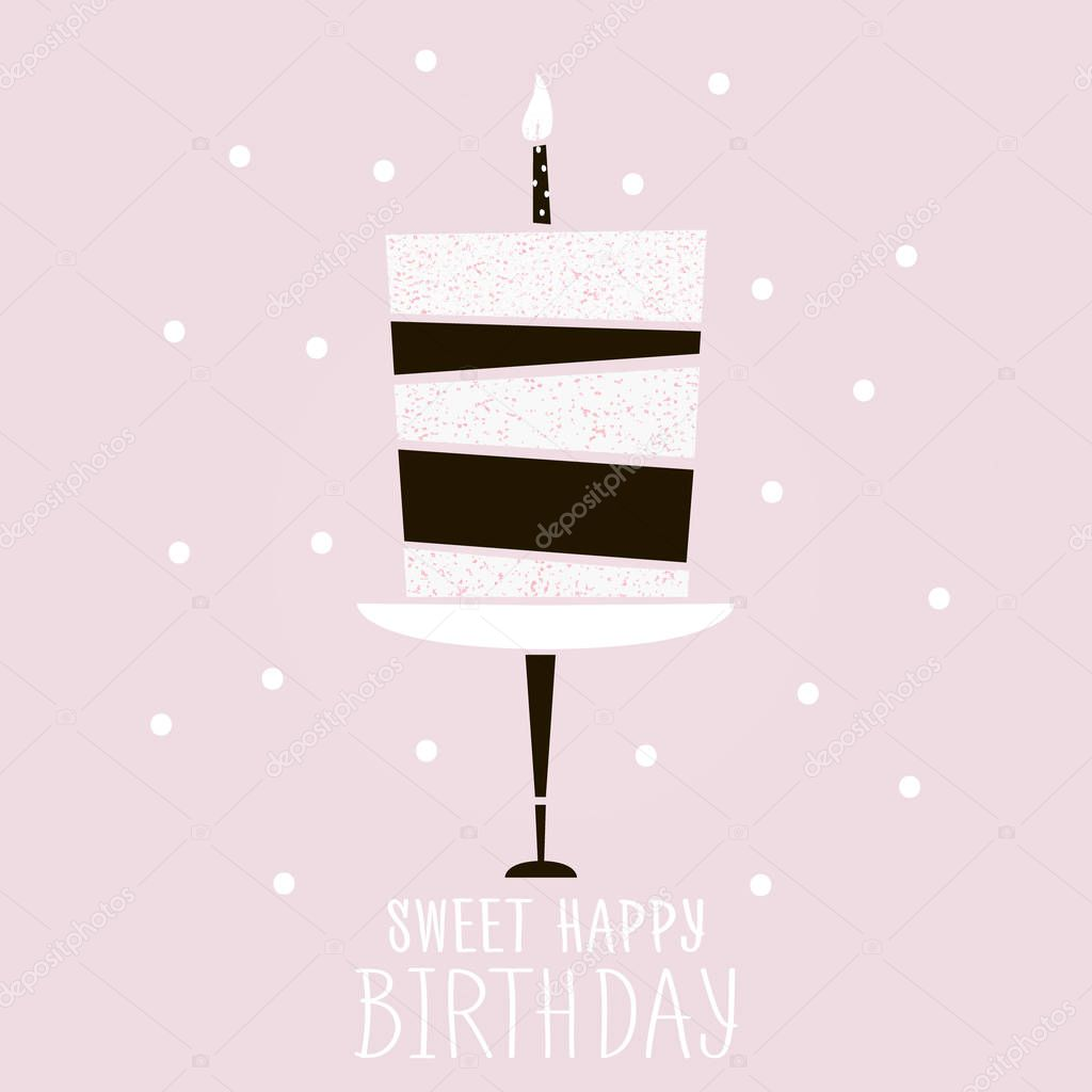 cute pink cake with happy birthday wish. modern greeting card