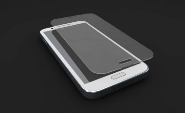 Screen protect Glass. Mobile accessory. 3d illustration, isolated black