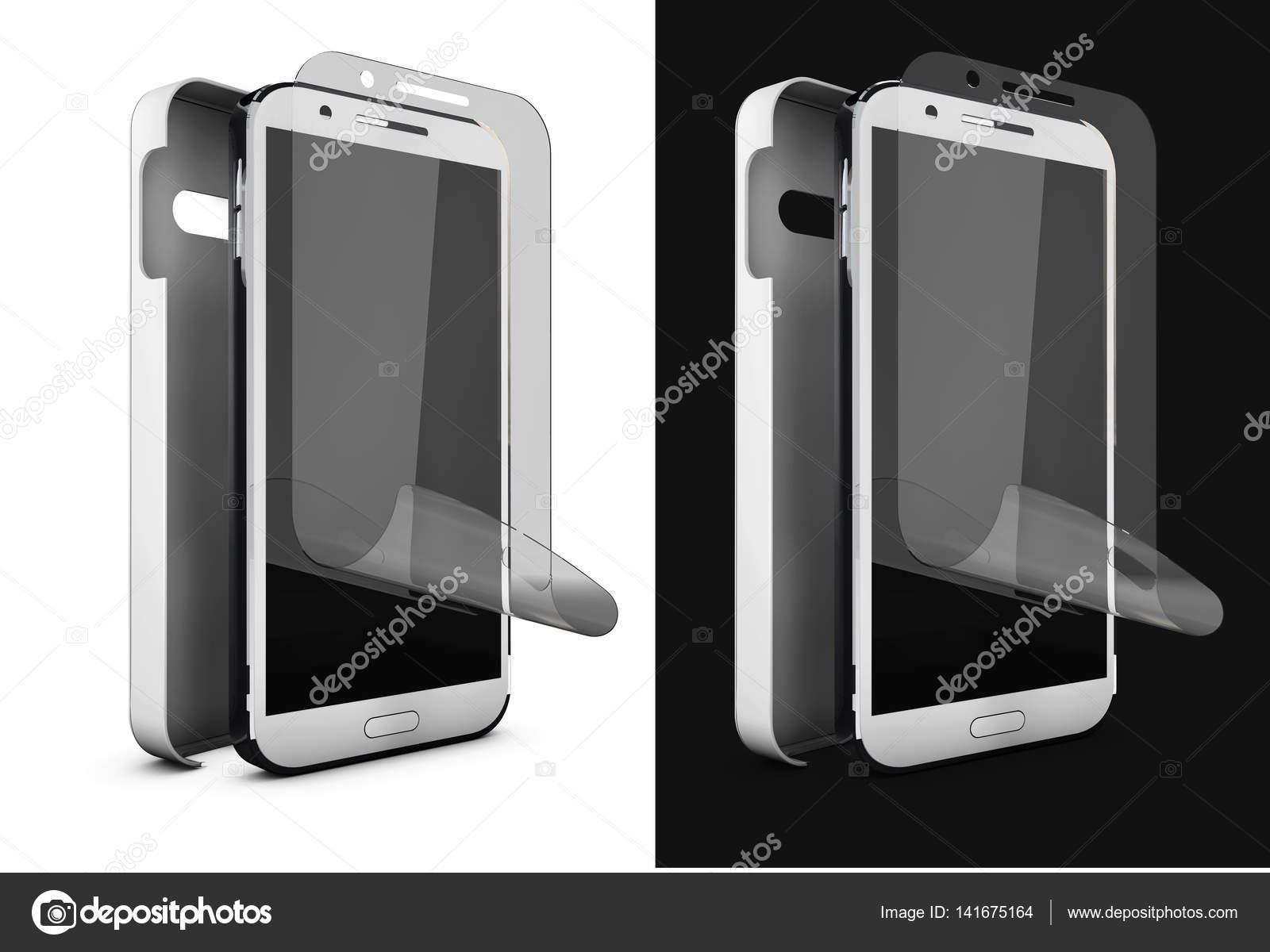 7c76e4de284c 3D απεικόνιση του τηλεφώνου φιλμ προστασίας στην οθόνη και κάλυμμα.  Smartphone οθόνη με προστατευτικό γυαλί. Απομονωμένα σε μαύρο και wite–  εικόνα αρχείου