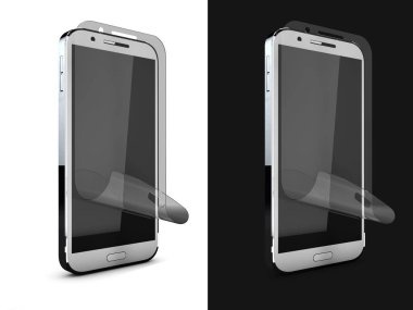 3d Illustration of Phone protection film on screen. Smartphone display with protector glass. Isolated on black and wite.