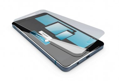 3d Illustration of Screen protector film or glass cover isolated white