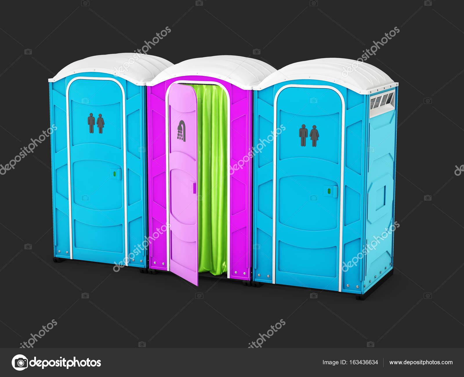 illustration 3D de salle de bain rose et bleu toilettes bio ...