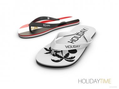 White and Egypt flip flops isolated on white background. concept travel to Egypt, 3d illustration