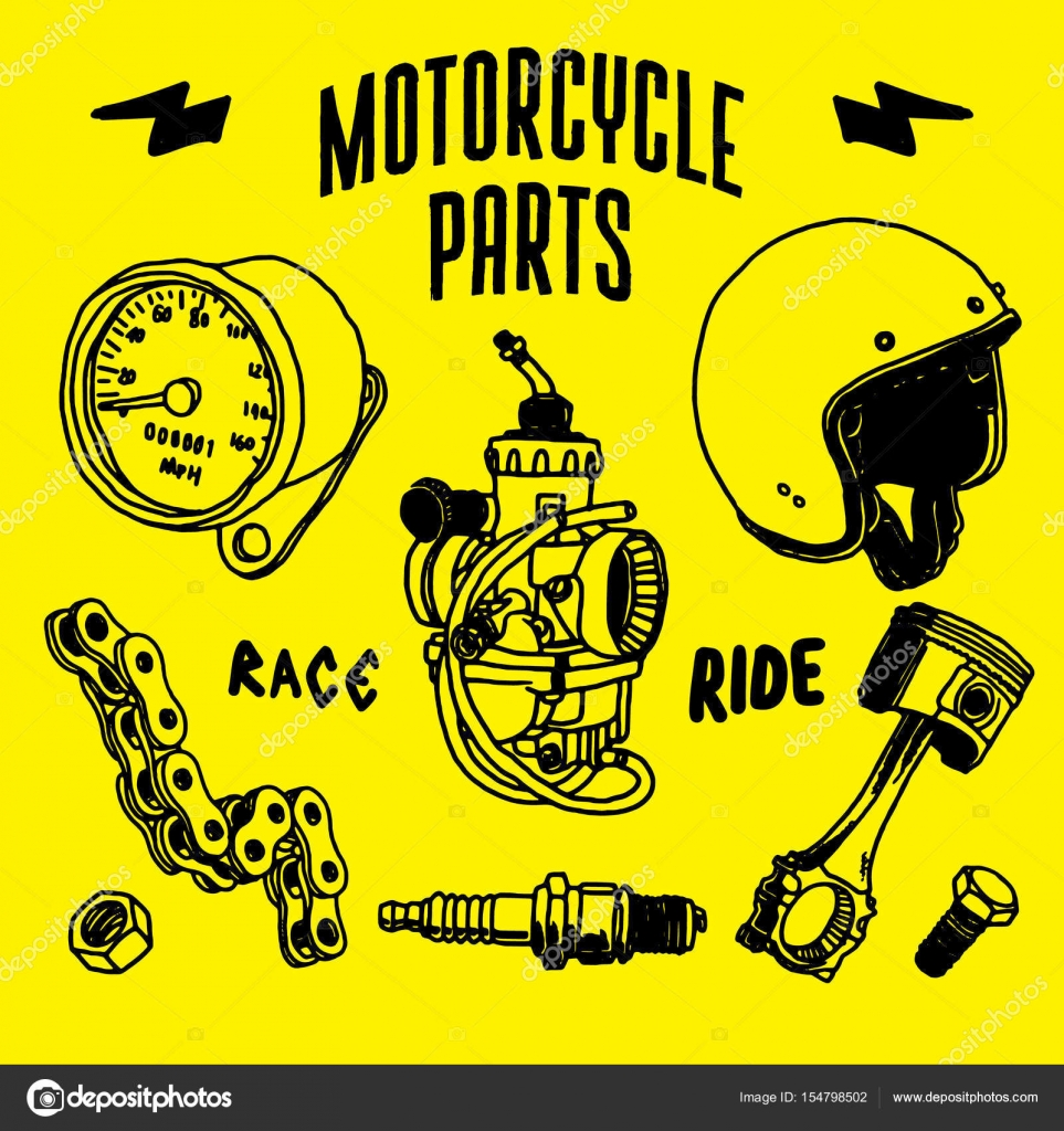 Motorcycle Parts Vector Drawing Stock Vector C Abdilahreptil
