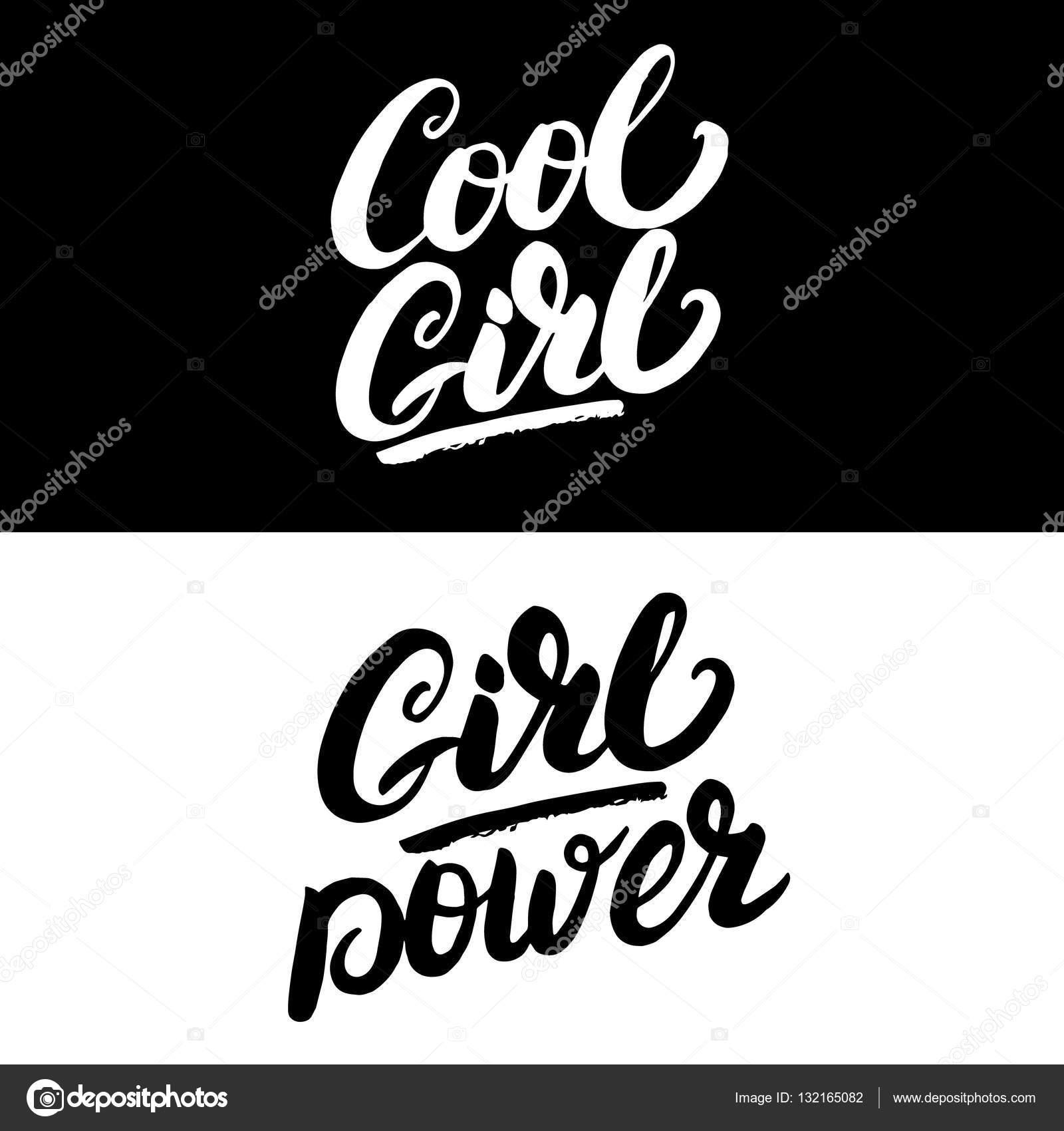 Coole Mädchen Und Mädchen Macht Handgeschriebene Schrift