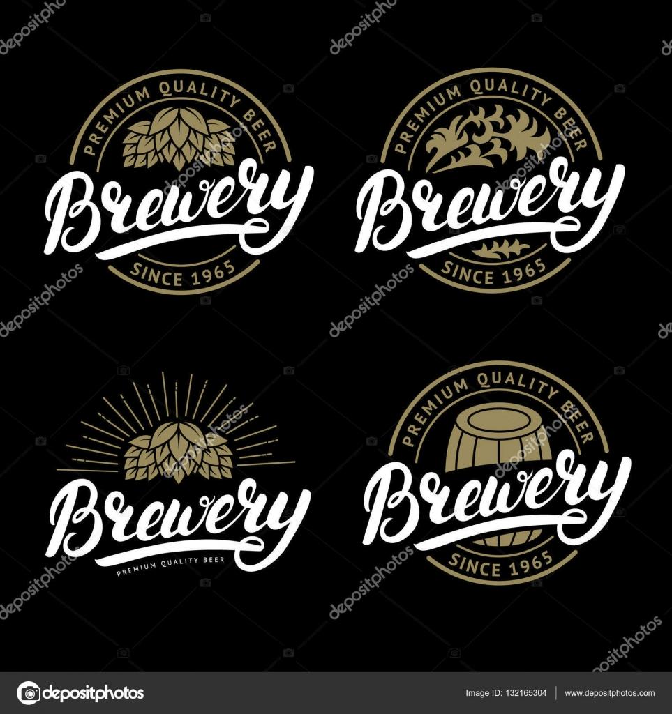Conjunto de cervecería escritos a mano Letras logo, etiqueta ...