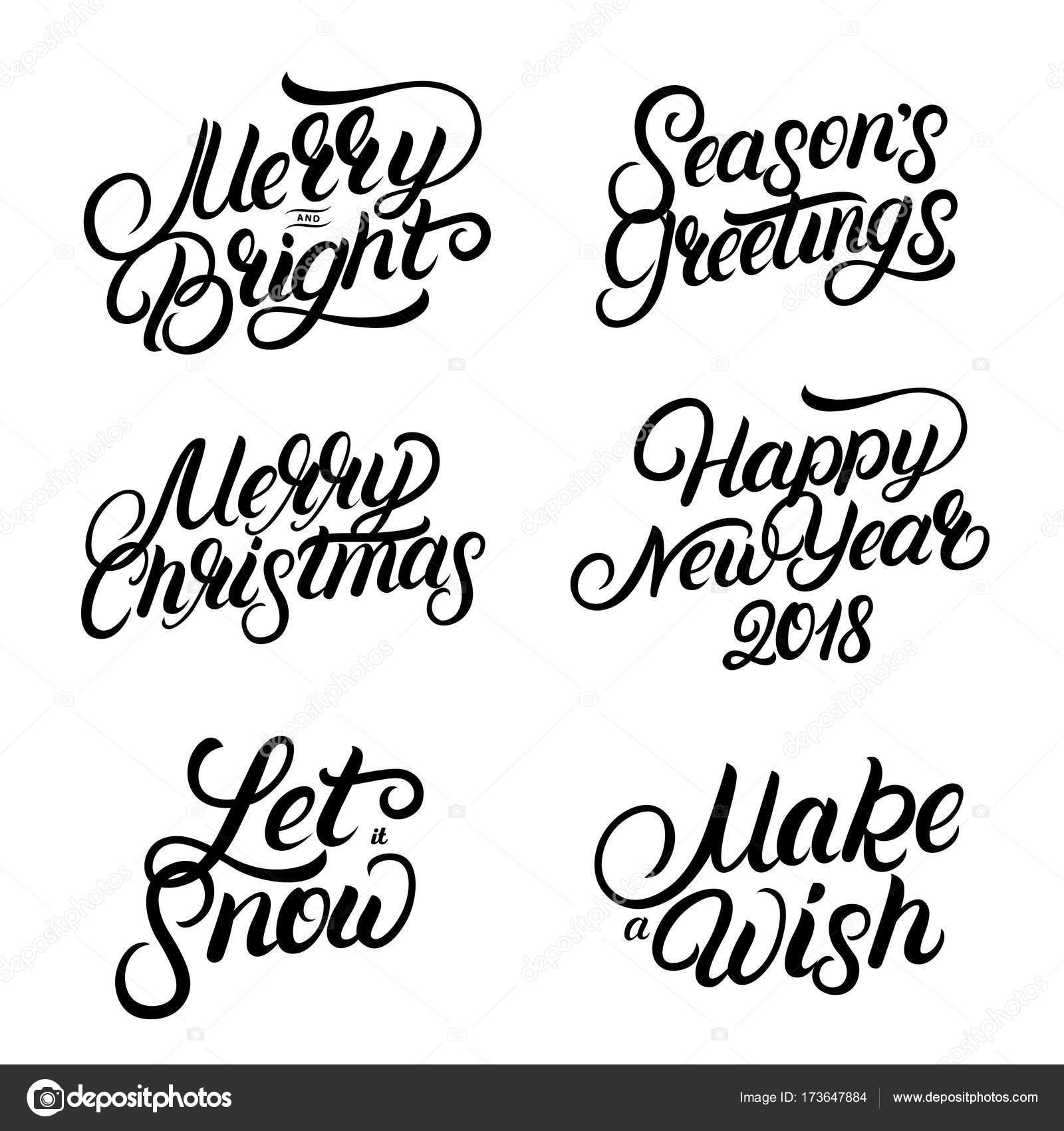 Conjunto De Navidad Y Ano Nuevo 2018 Escritos A Mano Letras Comillas