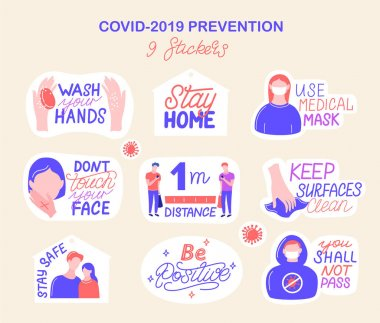 Coronavirus COVID-19 prevention. 9 hand drawn stickers pack How to protect yourself from infection, hand washing, avoid patients and cover your sneeze. Cartoon badges with quotes. Trendy flat. Vector icon