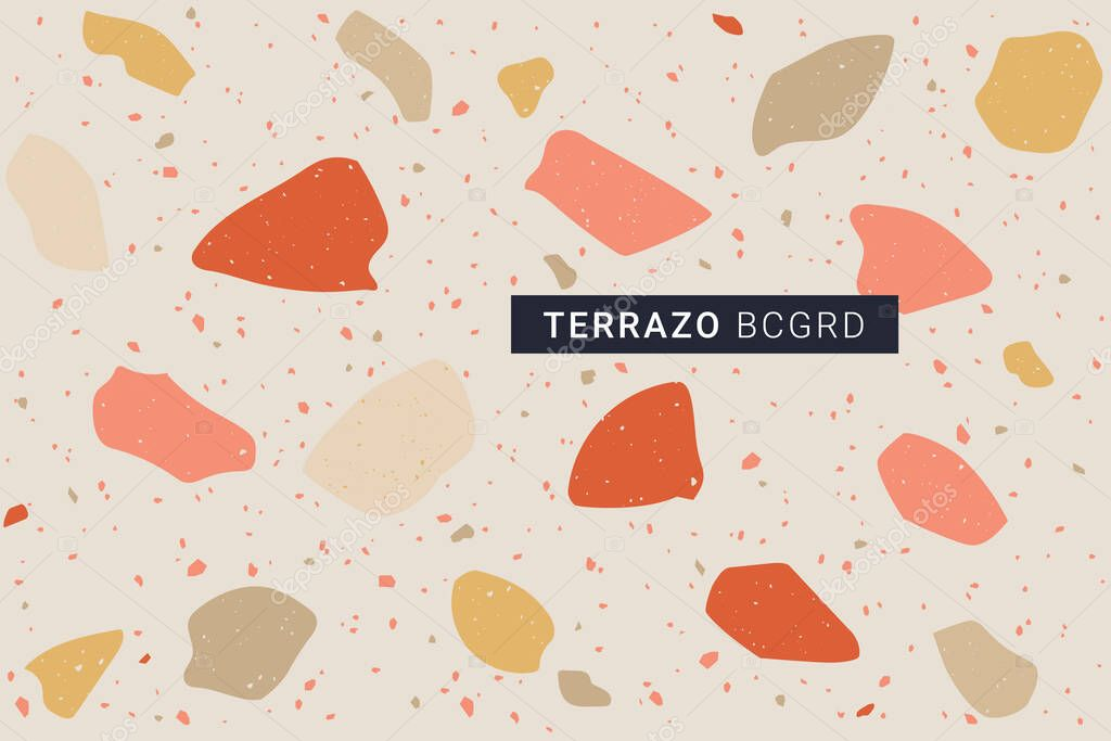 Terrazzo Modern Print Background Different Shapes Seamless Pattern Marble Texture Burnt Orange Trendy Warm Terracotta Color Palette Vector Illustration Premium Vector In Adobe Illustrator Ai Ai Format Encapsulated Postscript
