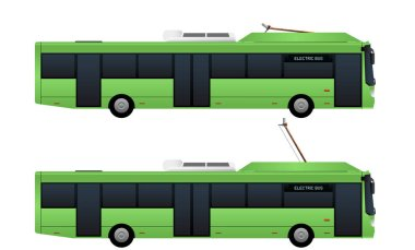 Green electric bus with pantograph.