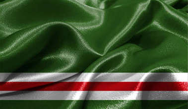 Realistic flag of Chechen Republic of Ichkeria on the wavy surface of fabric