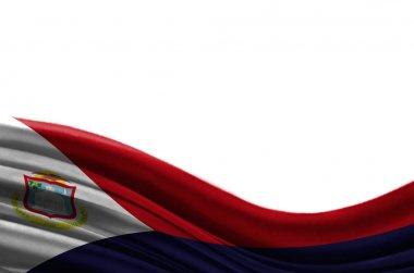 Grunge colorful flag Saint Martin, isolated on white background