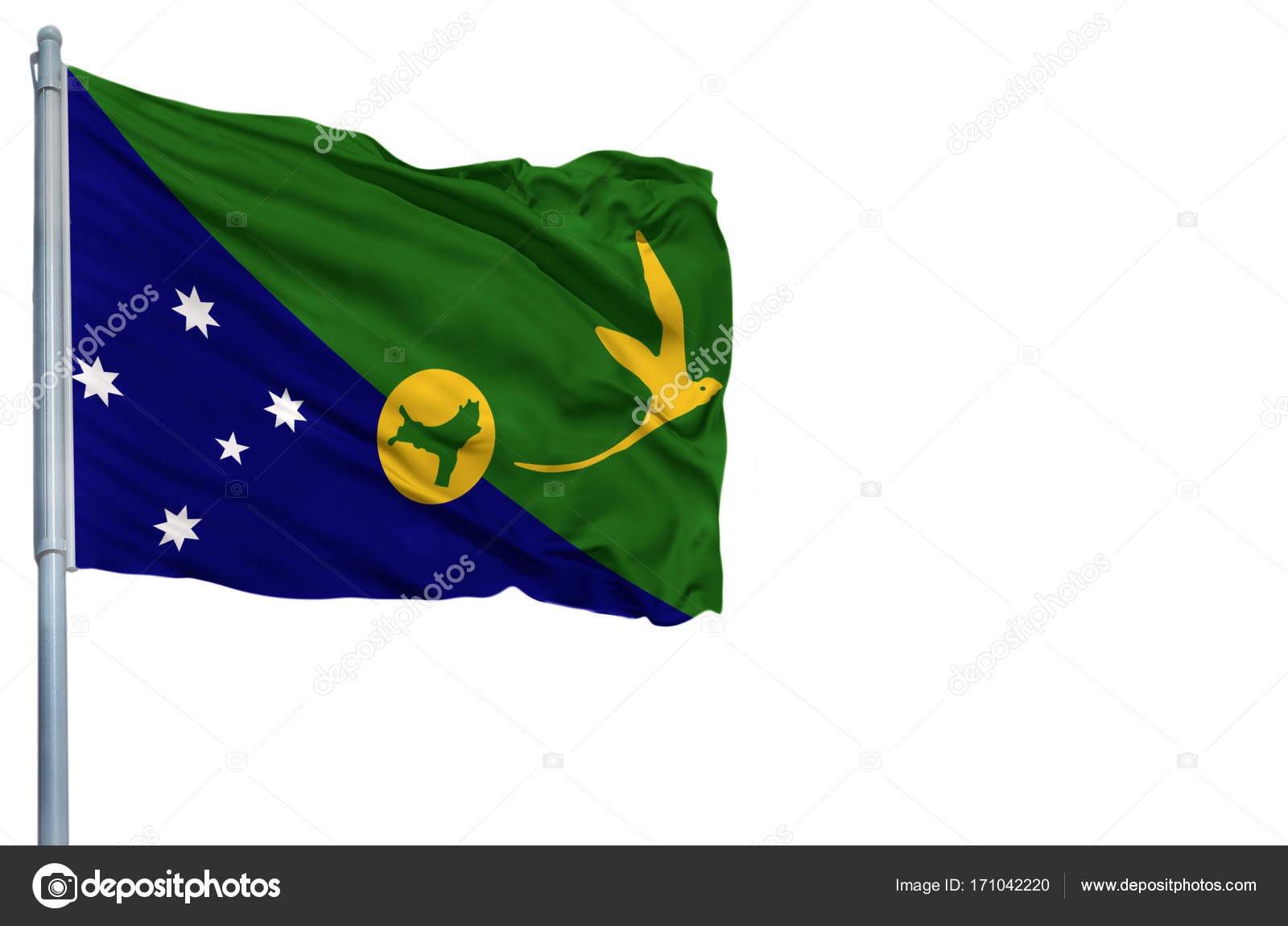 National flag of Christmas Island on a flagpole, isolated on white ...