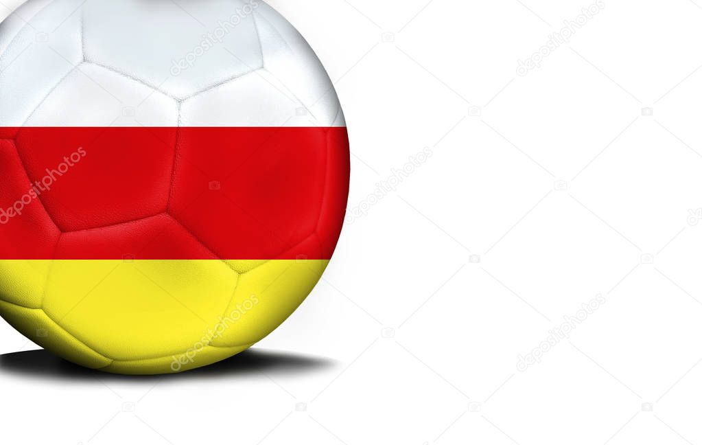 Flag of North Ossetia, the ball is isolated on a white background