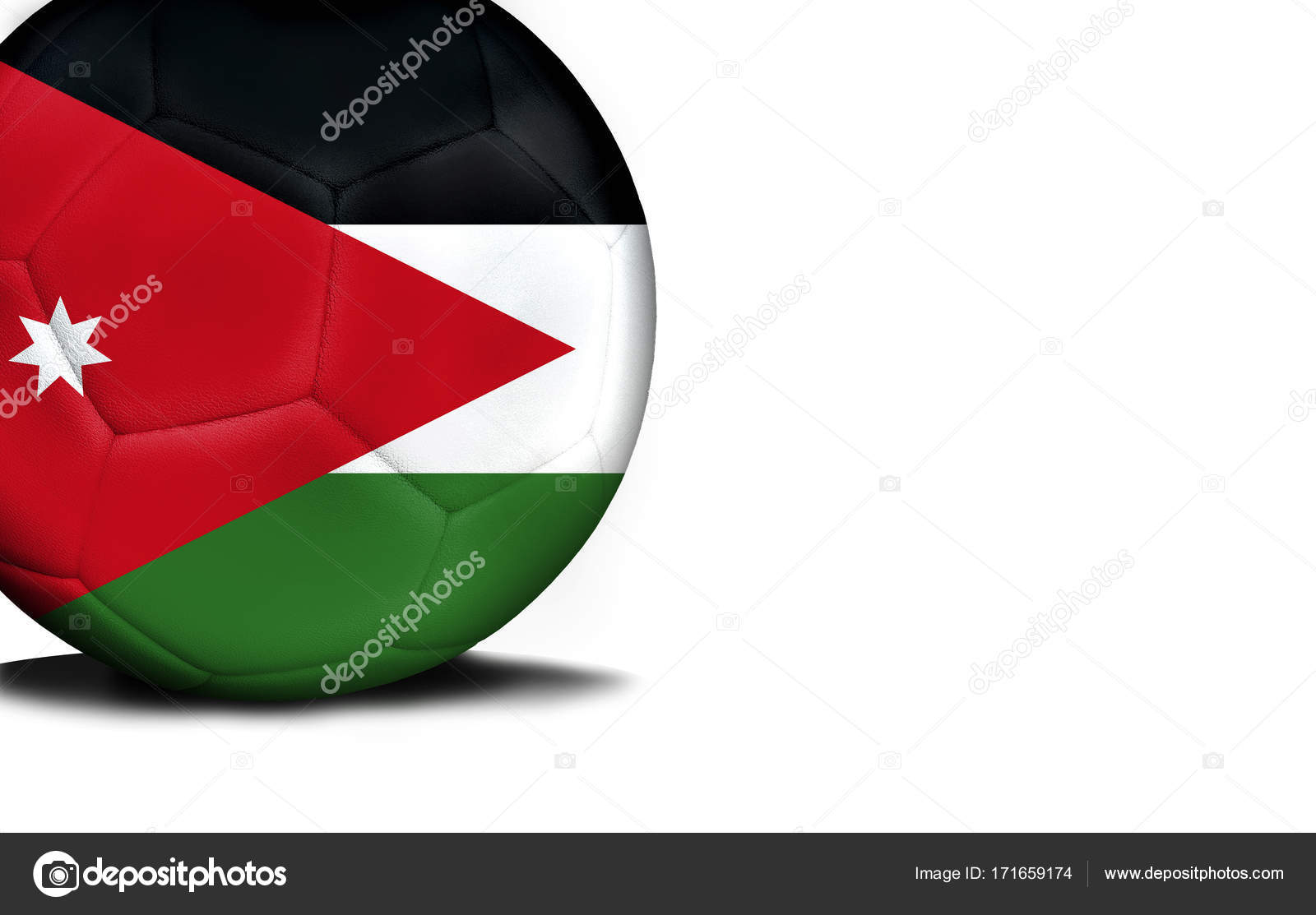 flag of jordan the ball is isolated on a white background stock