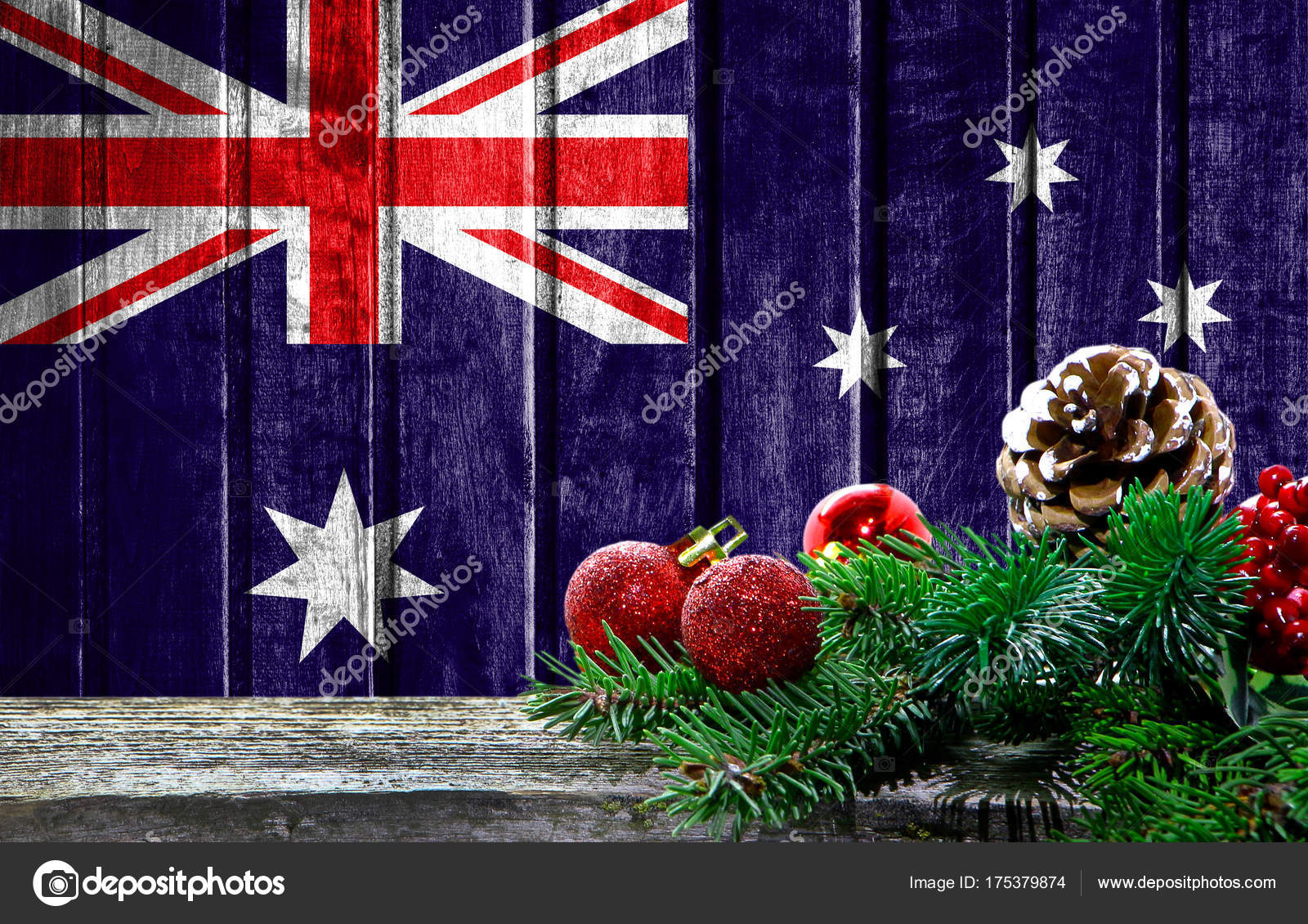 Wooden Christmas Background With A Flag Of Australia There Is A