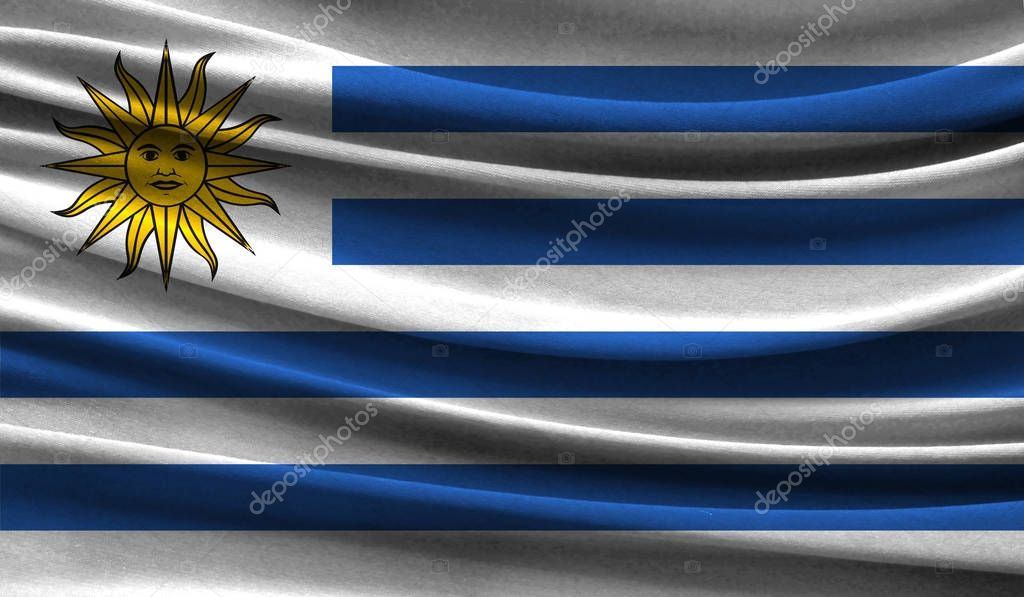 Realistic flag of Uruguay on the wavy surface of fabric