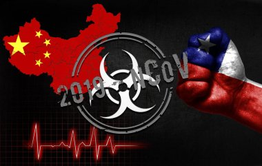 The concept of an epidemic in China with a virus named 2019-CoV, with the flag of Chile on the fist of a man.